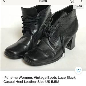 Vintage Boots Lace Black Casual Leather Size 5.5M